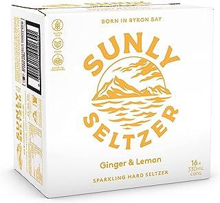 Sunly Seltzer Ginger & Lemon Beer (Case of 4, Total 16 Cans),