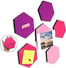 Omitfu Felt Bulletin Board Tiles Hexagon Pin Board for Girls Set of 6 Colorful Foam Wall Decorative Memo Board with 6 Pushpins - 5.5 x 5 x 0.5 inches (C Hexagon)