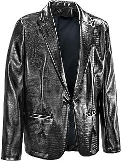 ジャケット テーラード クロコダイル柄 PUレザー 日本製 1釦 テーラードジャケット ライトアウター メンズ ブラック黒 201250