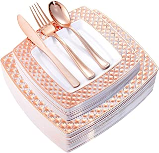 WDF 125PCS Rose Gold Plastic Plates with Disposable Plastic Silverware,Diamond Square Plastic Tableware include 25 Dinner Plates,25 Salad Plates,25 Forks, 25 Knives, 25 Spoons