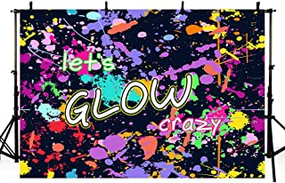 MEHOFOTO Neon Let's Glow Crazy Splatter Graffiti Photo Studio Booth Background Adult Birthday Glowing Sleepover Party Decorations Banner Backdrops for Photography 7x5ft