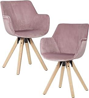 Wohnling Cómodas sillas de comedor con reposabrazos en color rosa, sillas de terciopelo para cocina, modernas con patas de madera, sillas de chal acolchadas.
