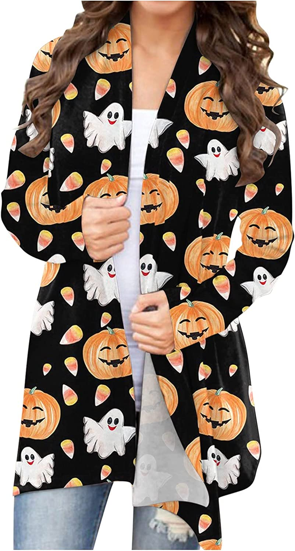 FABIURT Halloween Cardigan for Women,Women's Halloween Cat Pumpkin Print Cardigan Fashion Autumn Long Sleeve Blouse