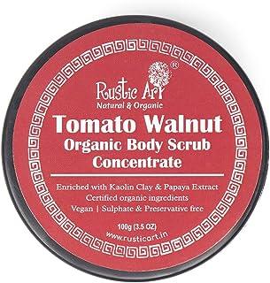 Rustic Art Tomato Walnut Body Scrub Organic Concentrate   For Glowing Skin   Removes Tan & Dead Skin   100g