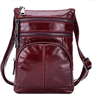 Genda 2Archer Men's Small Leather Messenger Bag Casual Satchel Shoulder Pack Vintage Purse One Size Red