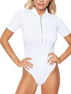 Women's Thong Cut Zip Up Polo Bodysuit Tops Tee Shirt Leotard