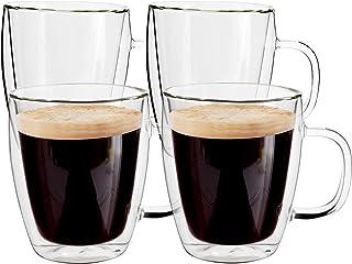 لیوان قهوه شیشه ای Yuncang 4 بسته ، 16 اونس (500 میلی لیتر) ، لیوان لیوان عایق دو جداره با دسته ، لیوان های کاپوچینو با برس تمیز کردن ، مناسب برای Americano ، Latte ، Beverage ، Cappuccinos ، Espresso Cups