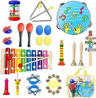 楽器おもちゃ 打楽器セット パーカッションセット 赤ちゃん 子供用22点セット ミュージックステーション 音楽おもちゃ タンバリン カスタネット等 収納バッグ付き