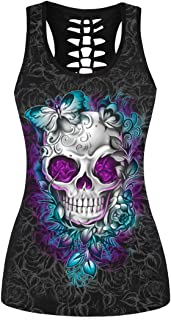 Womens Skull Print Cut Out Workout Yoga Running Tank Tops Sleeveless Casual Shirts Tops (Butterfly Flower Skull 011, S/M)