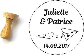 Timbro matrimonio personalizzato con nomi e data, timbro viaggio, modello di aeroplano e cuore, forma rotonda 4 cm