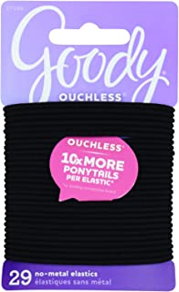 Goody Ouchless No Metal Elastic, Black, 5.5 Inches, Thin Large, 29 Count