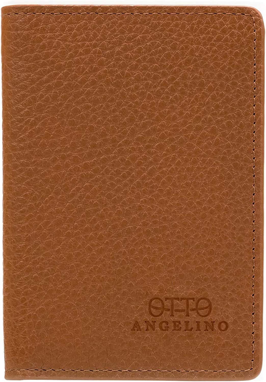 Otto Angelino Bifold Genuine Leather Wallet - Passport Style - ID, Bank Cards, Cash, RFID Blocking - Unisex