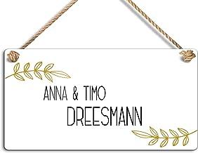 Personaliseerbaar naamplaatje met mooi koord om op te hangen aan de voordeur, woningdeur, tuinhek, weerbestendig en kleurr...