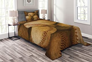 Lunarable Vintage Bedspread, Vintage Baseball Background American Sports Theme Nostalgic Leather Retro Balls Artwork, Decorative Quilted 2 Piece Coverlet Set with Pillow Sham, Twin Size, Brown