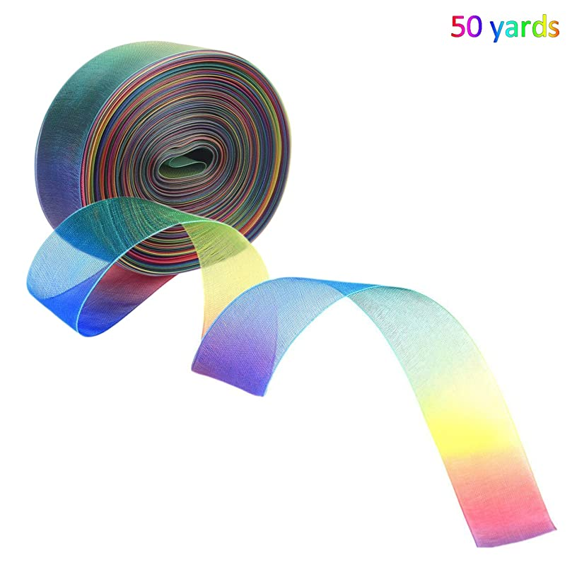 50 Yard 1 Inch Rainbow Shimmer Ribbon - JamHooDirect Shimmer Sheer Organza Ribbons Decorative Bundle Rainbow Ribbon for Wedding Favour/Craft/Gift wrap/Christmas