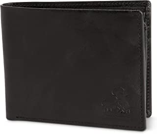 Vintage Black Leather Wallet for Men RFID Bifold With ID