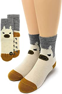 Warrior Alpaca Socks - Baby Alpaca Wool Happy Family Alpaca Face Socks for Adults, Teens & Kids