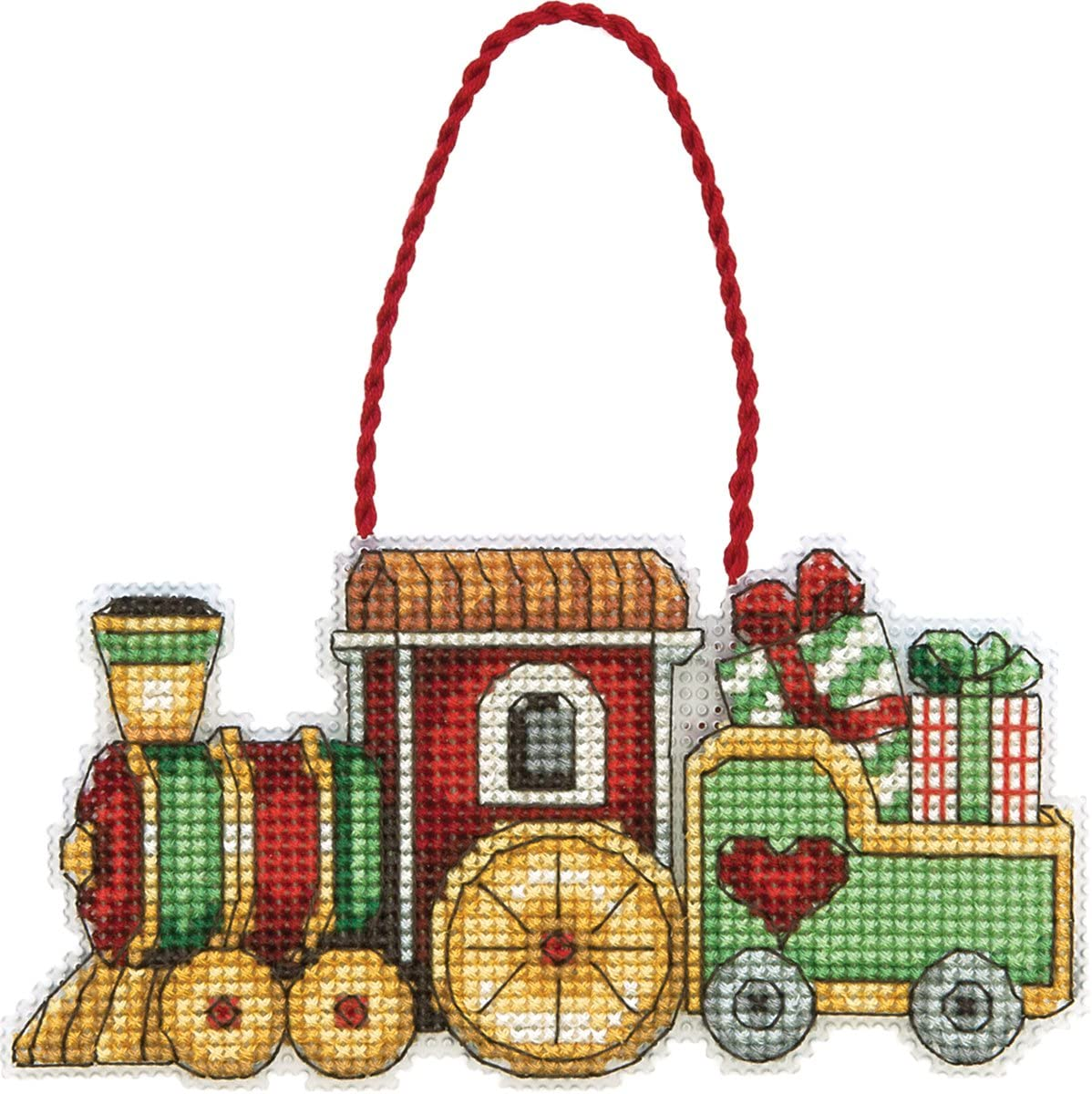 DIMENSIONS Susan Winget Train Ornament Counted Cross Stitch Kit-3-3/4 X2-1/4 14 Count Plastic Canvas