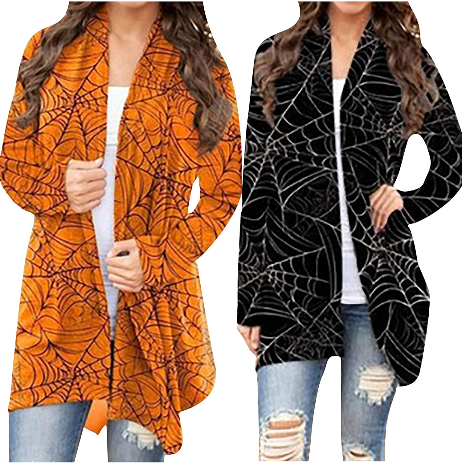 Halloween Cardigan for Women Trendy Long Sleeve Sweaters Cute Spider Web Graphic Coat Blouses Open Front Outwear Tops
