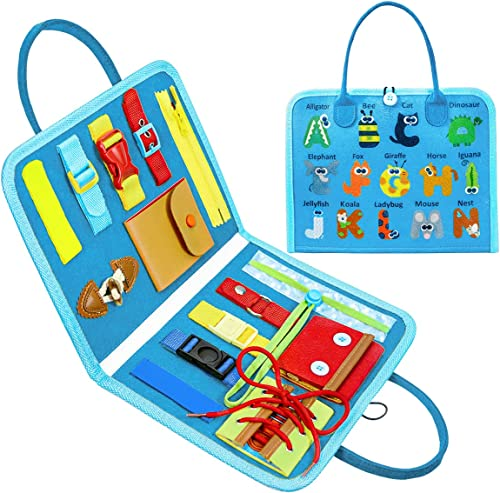 2021 Toddler Toys, Busy Board Age 1 2 3 4, Montessori Sensory Learning Education Toys for Boys Girls Autistic Preschool Travel Toys Basic Motor Skills & outlet sale Learn to Dress Toy Alphabet Toy for popular Baby Kid (Blue) online