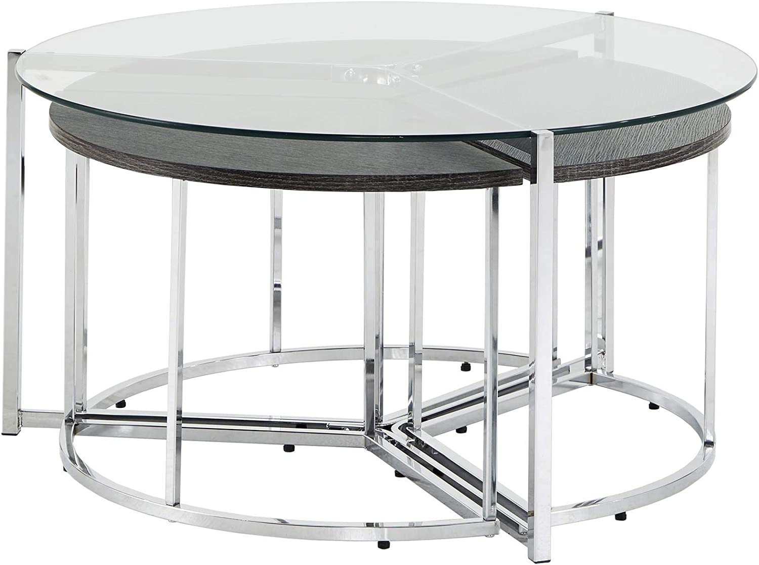 Union 5 Home Chrome Fort Worth Mall Finish Glass and Fashionable End Top Table Set Coffee