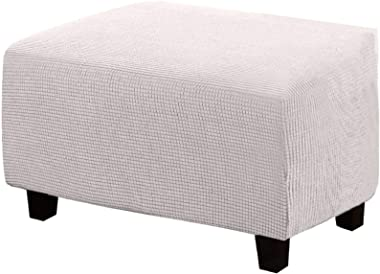 Jacquard Ottoman Cover, Rectangle Footstool Slipcover Elastic Stool Cover for Foot Stool-E-L