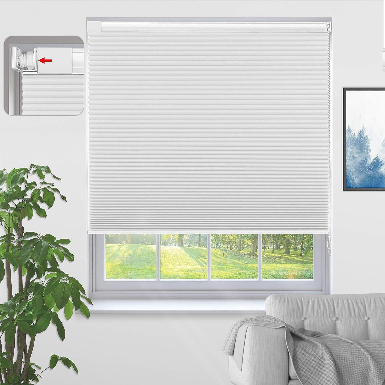 MiLin Window Cellular 売却 Honeycomb 『1年保証』 Shades 100% Blackout W No Tools