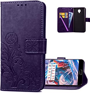 HMTECHUS OnePlus 3 case 3T case Embossed Floral Card Slots Magnetic Flip Stand Shockproof PU Leather Wallet Slim Protect Cover for OnePlus 3 / OnePlus 3T Lucky Clover:Purple XD