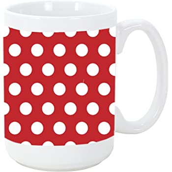 amazon com red background with white polka dot polka dots pattern 15 ounce ceramic coffee mug tea cup by moonlight printing kitchen dining red background with white polka dot polka dots pattern 15 ounce ceramic coffee mug tea cup by moonlight printing