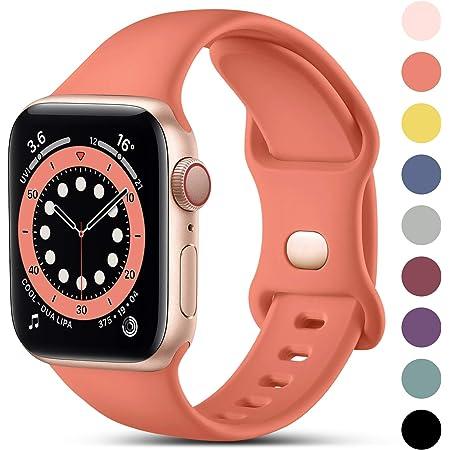 CeMiKa Compatible con Apple Watch Correa 38mm 42mm 40mm 44mm, Deportivas de Silicona Correas de Repuesto Compatible con iWatch SE Series 6 5 4 3 2 1, 38mm/40mm-S/M, Coral