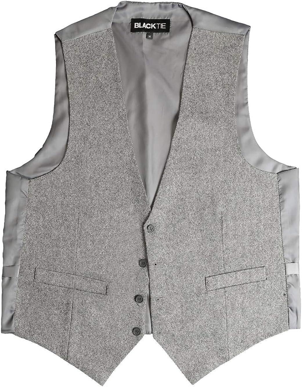 BLACKTIE Men's Tweed Suit Vest Premium Wool Blend Waistcoat