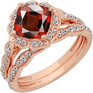 Dazzlingrock Collection 14K 7.5 MM Cushion Gemstone & Round Diamond Ladies Bridal Engagement Ring With Band Set, Rose Gold