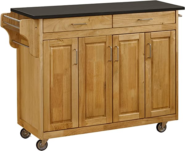 Create A Cart Natural 4 Door Cabinet Kitchen Cart With Black Granite Top By Home Styles