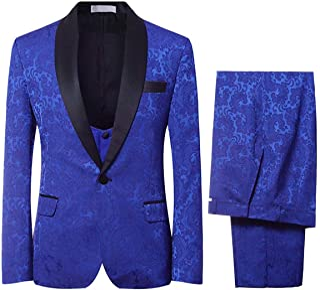 YFFUSHI Men`s Elegant Jacquard 3 Piece Suit Slim Fit Royal Blue Tuxedo