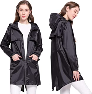 Women's Mid-Long Hooded Lightweight Raincoats Rain Jacket with Pockets Double Zipper