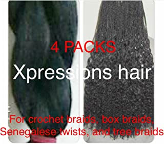 Xpressions Synthetic Braiding Hair Xpressions Boxbraids, Crochet Braids, and Tree Braids. (1 SET OF 4 PACKS) More Colors 1 1b 2 4 27 30 33