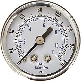 Brass Internals 0//100 psi Range and Plastic Lens Chrome Bezel 1//8 Male NPT Connection Size PIC Gauge 102D-108E 1 Dial Center Back Mount Dry Pressure Gauge with a Black Steel Case