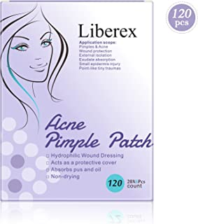 Liberex Acne Pimple Master Patch - 120 Spot Patches Hydrocolloid Absorbing Dressing Bandages Cover, Φ12mm, 20 Dots x 6 Sheets