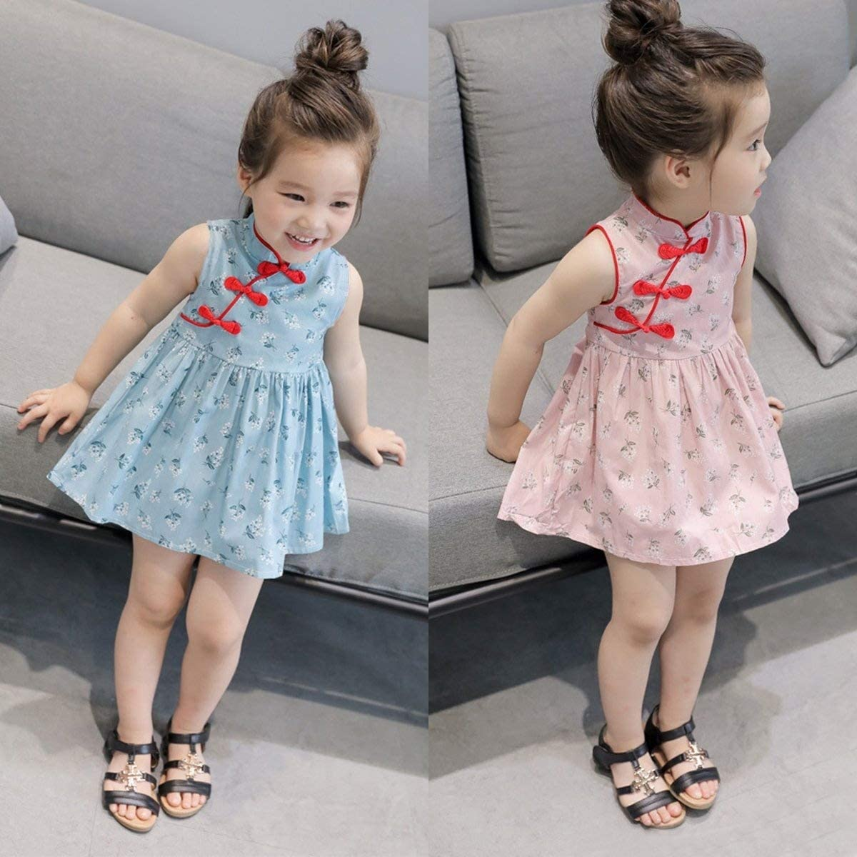 XINSHUN Kid Princess Girls Vintage Cheongsam Dress Sleeveless Formal Wedding Dresses (Pink,3Y-4Y)