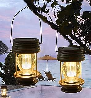 pearlstar Solar Lantern - Hanging Solar Lights Outdoor - 2 Pack Solar Powered Waterproof Led Lanterns Vintage Design for Landscape,Yard,Garden,Pathway,Beach,Pavilion Decoration (Warm Lights)