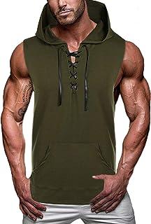 COOFANDY رجالية التمرين مقنعين تانك توب بدون أكمام قميص صالات رياضية مقنعة قميص برباط قميص كمال الاجسام العضلات هوديي