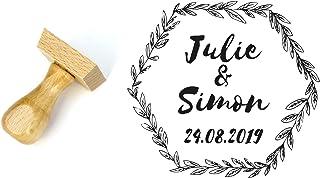 Timbro matrimonio personalizzato stile floreale, forma esagonale 4 cm, con nomi e data
