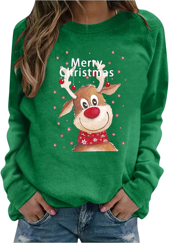 Kanzd Quality inspection Christmas Sweatshirts for Women Sleeve Crewne Fashion Long Regular discount