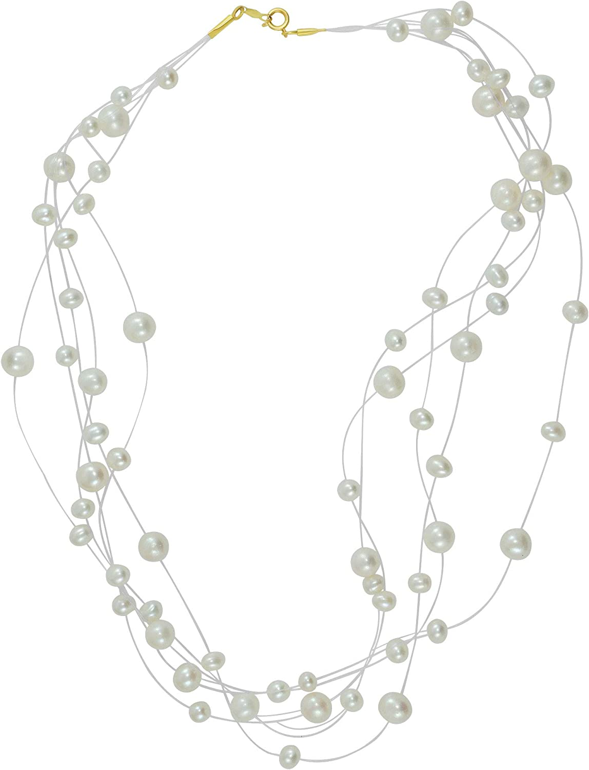 14 Karat Yellow Gold Bridal White and Ivory Freshwater Pearl 16 Inch Necklace, Multi Strand Design with Spring Ring Clasp Lock