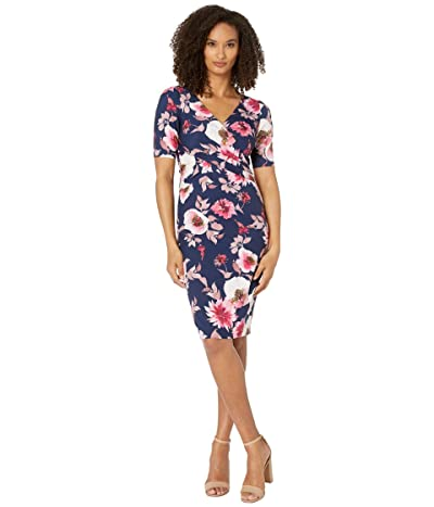Adrianna Papell Alluring Garden Draped Sheath Dress (Navy Multi) Women