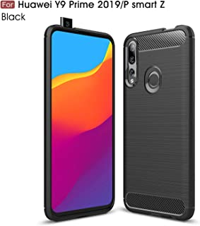 Huawei P Smart Z /Y9 Prime 2019 Case, Silicone Leather[Slim Thin] Flexible TPU Protective Case Shock Absorption Carbon Fiber Cover for Huawei P Smart Z/Y9 Prime 2019 (Black)