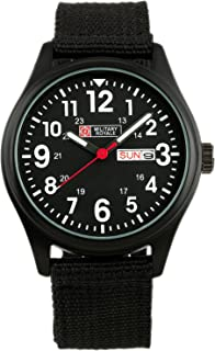 Military Watch Sport Date Black Quartz Army Analog Men Luminous Canvas Strap New