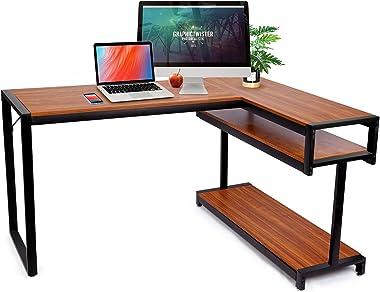 amzdeal Bureau d'angle Table,Grand Bureau d'angle Bureau Informatique,141L×105W×75.5H cm,Bureau d'Ordinateur Tabl
