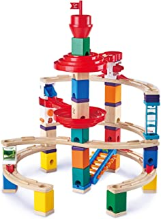 Hape E6024 Quadrilla Super Spirals, Wooden Marble Run - 129 pieces, Educational Construction Toys for 4 Years and Up
