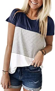 ALBIZIA Women's Short Sleeve Round Neck Top Triple Color Block Stripe T-Shirt